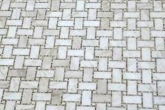 Custom water jet basket weave marble floor