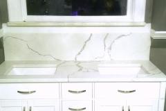 Custom Statuario elegant quartz vanity top
