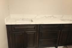 Custom White Bathroom Granite Counters and Shower tiles install in Paramus, NJ