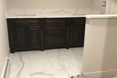 Custom White Bathroom Granite Counters and Shower tiles install in Paramus, NJ