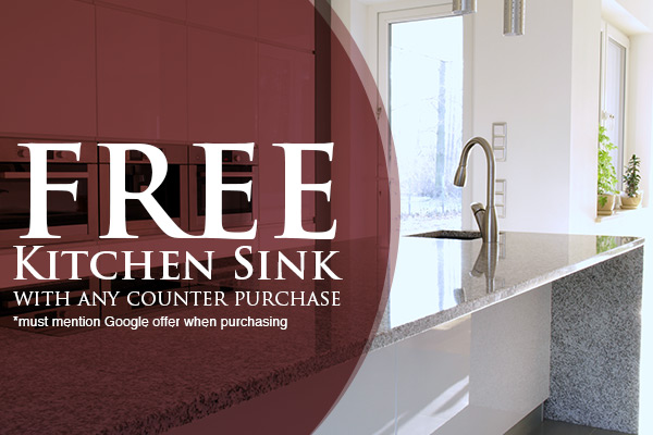 Free Kitchen Sink with any counter purchase