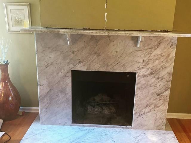 Beautiful Premium White Carrara Custom Fireplace in North Arlington NJ